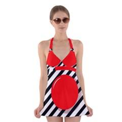 Red ball Halter Swimsuit Dress
