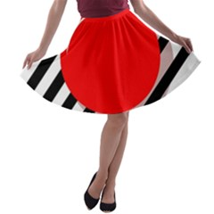 Red ball A-line Skater Skirt