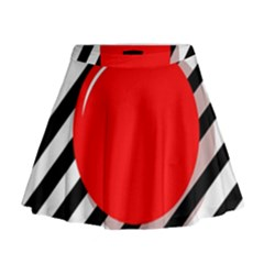 Red ball Mini Flare Skirt