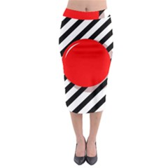 Red Ball Midi Pencil Skirt
