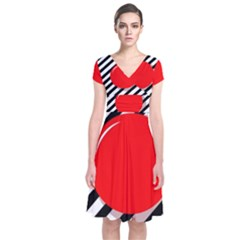 Red Ball Short Sleeve Front Wrap Dress