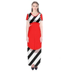 Red Ball Short Sleeve Maxi Dress