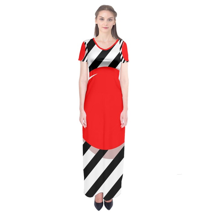 Red ball Short Sleeve Maxi Dress