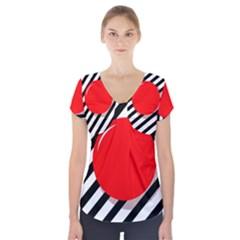 Red Ball Short Sleeve Front Detail Top