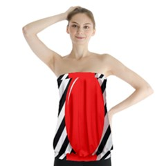 Red ball Strapless Top