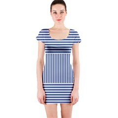 Nautical striped Short Sleeve Bodycon Dress