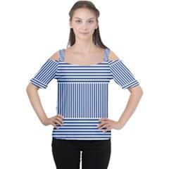 Nautical Striped Women s Cutout Shoulder Tee