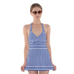 Nautical Striped Halter Swimsuit Dress