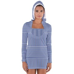 Nautical Striped Women s Long Sleeve Hooded T Shirt