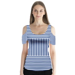 Nautical striped Butterfly Sleeve Cutout Tee