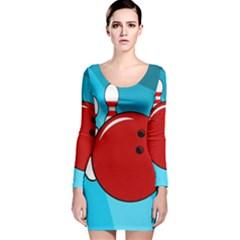 Bowling  Long Sleeve Velvet Bodycon Dress