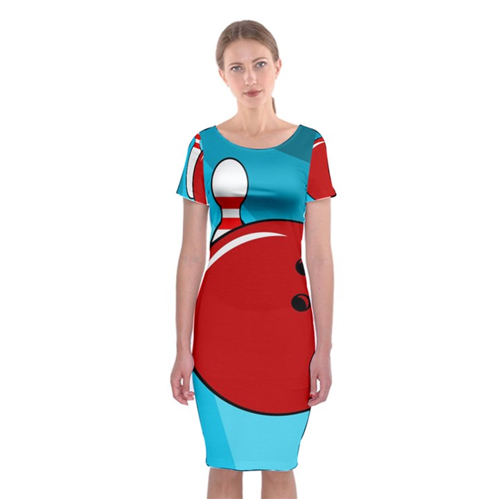 Bowling  Classic Short Sleeve Midi Dress