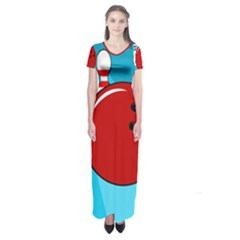 Bowling  Short Sleeve Maxi Dress