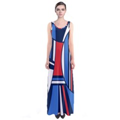 Abstract Nautical Sleeveless Maxi Dress