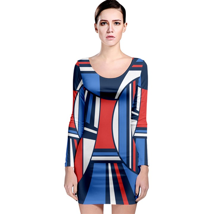 Abstract nautical Long Sleeve Bodycon Dress