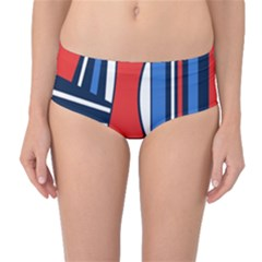 Abstract Nautical Mid Waist Bikini Bottoms