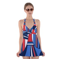 Abstract nautical Halter Swimsuit Dress