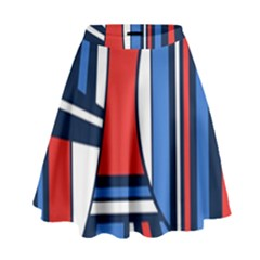 Abstract nautical High Waist Skirt