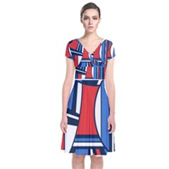 Abstract Nautical Short Sleeve Front Wrap Dress