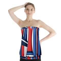 Abstract Nautical Strapless Top