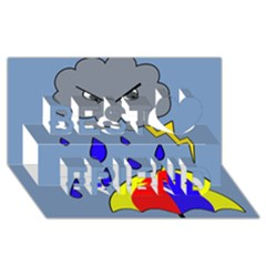 Rainy day Best Friends 3D Greeting Card (8x4)