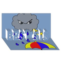 Rainy day BEST SIS 3D Greeting Card (8x4)
