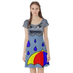Rainy day Short Sleeve Skater Dress