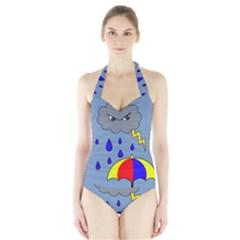 Rainy Day Halter Swimsuit