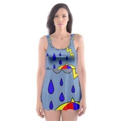 Rainy day Skater Dress Swimsuit