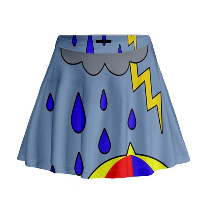 Rainy day Mini Flare Skirt