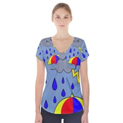 Rainy day Short Sleeve Front Detail Top