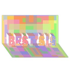 Pastel Decorative Design Best Sis 3d Greeting Card (8x4)