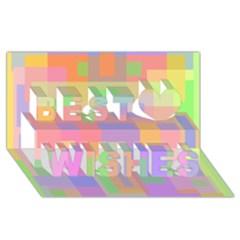 Pastel decorative design Best Wish 3D Greeting Card (8x4)