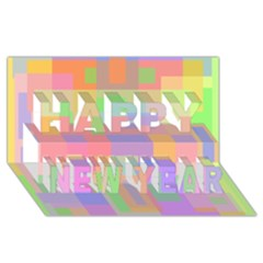 Pastel decorative design Happy New Year 3D Greeting Card (8x4)