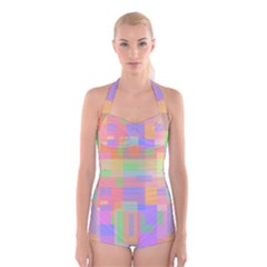 Pastel decorative design Boyleg Halter Swimsuit