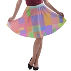 Pastel decorative design A-line Skater Skirt