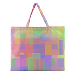 Pastel Decorative Design Zipper Large Tote Bag
