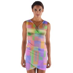 Pastel Decorative Design Wrap Front Bodycon Dress
