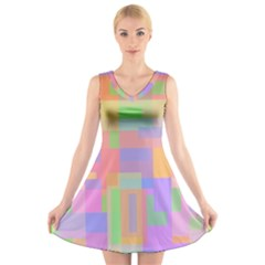 Pastel Decorative Design V Neck Sleeveless Skater Dress