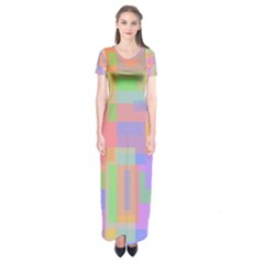 Pastel decorative design Short Sleeve Maxi Dress