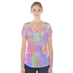 Pastel Decorative Design Short Sleeve Front Detail Top