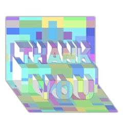 Pastel geometrical desing THANK YOU 3D Greeting Card (7x5)