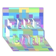 Pastel geometrical desing TAKE CARE 3D Greeting Card (7x5)