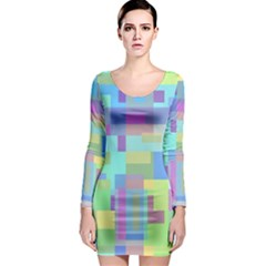Pastel geometrical desing Long Sleeve Bodycon Dress
