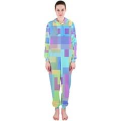 Pastel geometrical desing Hooded Jumpsuit (Ladies)