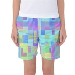Pastel geometrical desing Women s Basketball Shorts