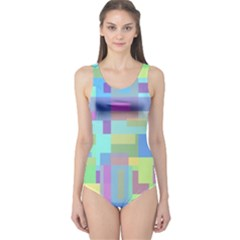 Pastel geometrical desing One Piece Swimsuit