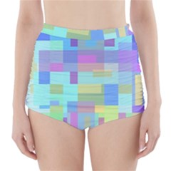 Pastel Geometrical Desing High Waisted Bikini Bottoms