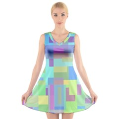 Pastel geometrical desing V-Neck Sleeveless Skater Dress