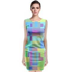 Pastel Geometrical Desing Classic Sleeveless Midi Dress